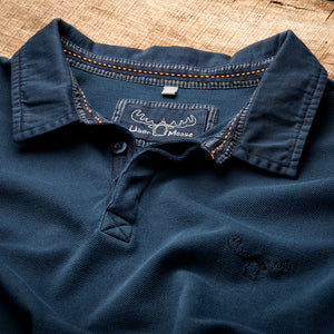 Pique Polo Shirt Detail in Indigo