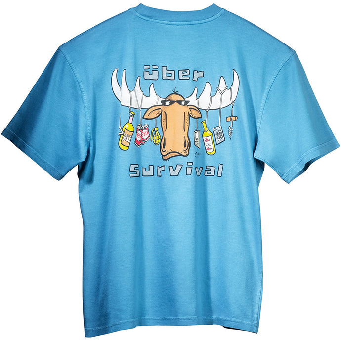Uber Survival T-Shirt - Large Back Print - Alaskan Blue
