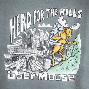 Head for the Hills T-Shirt - Large Back Print - Grey
