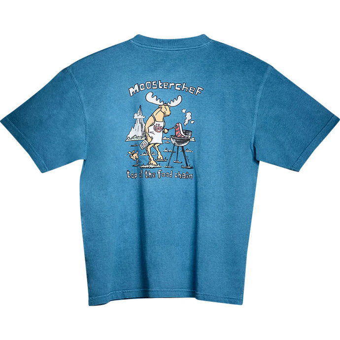 Mooster Chef T-Shirt - Large Back Print - Alaskan Blue