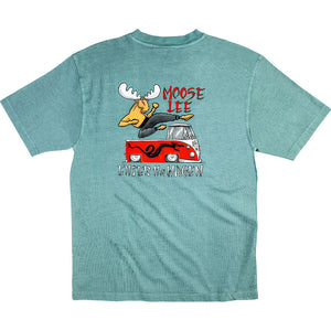 Moose Lee T-Shirt - Large Back Print - Aqua
