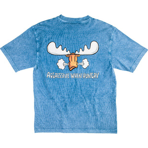 Aggressive When Hungry T-Shirt - Large Back Print - Denim