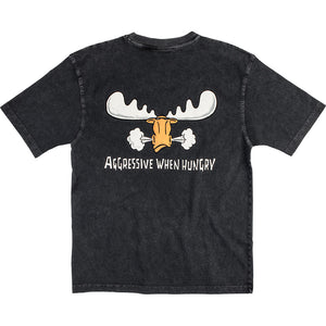 Aggressive When Hungry T-Shirt - Large Back Print - Graphite