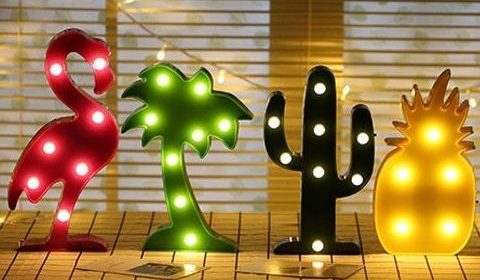 LED Flamingo Pineapple Cactus Night Lights