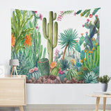 Boho Hanging Cactus Succulent Tapestry