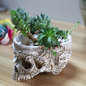 Carved Skull Planter
