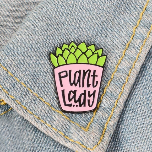 Succulent Plant Lady Pin Brooch