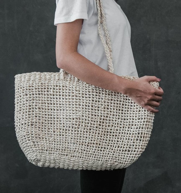 Palm leaf handcrafted fashion market bag