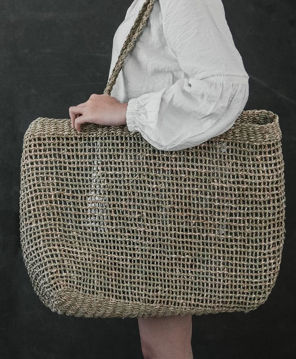 Open weave Seagrass handcrafted fashion market bag