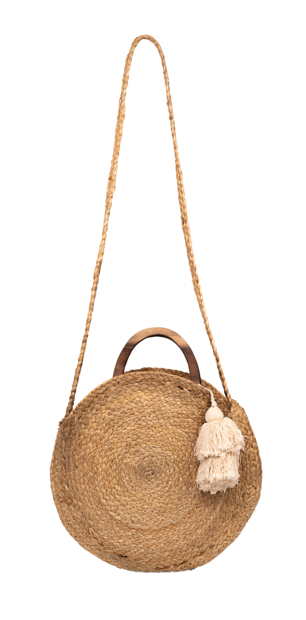 """Geena"" Round Jute Fashion Bag"