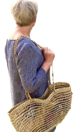Long Handle Open Weave Seagrass Bag