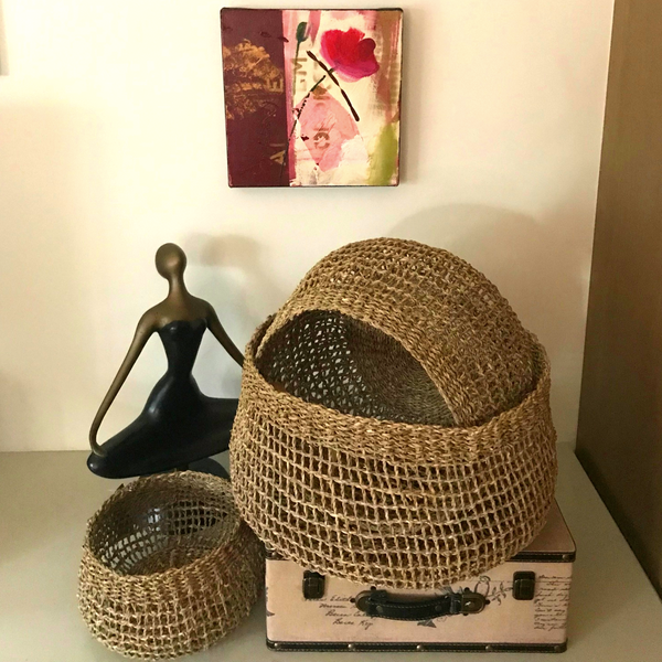 Seagrass handcrafted storage & planter basket