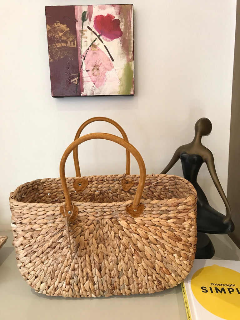 Water Hyacinth Rectangle Baskets with Suede Covered Handles - Choice of 3 Sizes