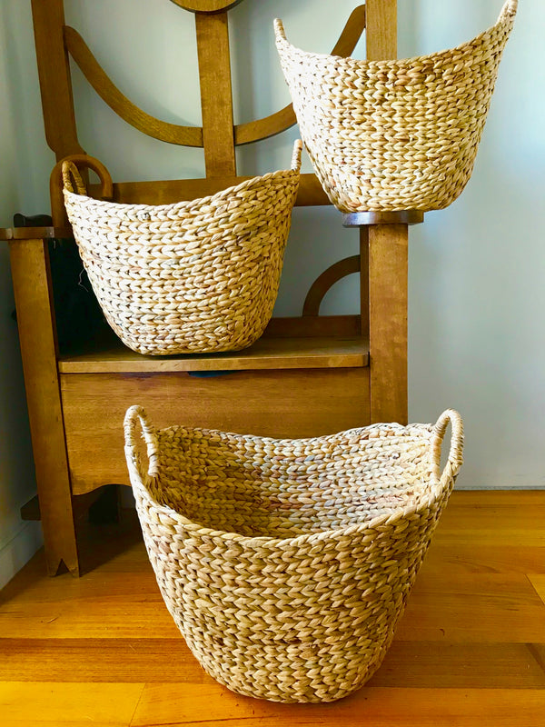 Water Hyacinth  Storage baskets Set of  3 Natural Colour