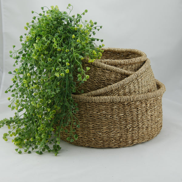Low Round Seagrass Baskets Set of 4
