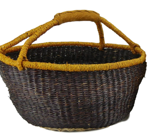 Large Round Basket in Eggplant with Pumpkin Rim