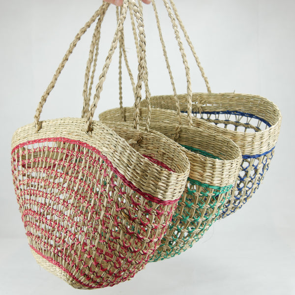 Net Half Moon bag in Green, Red & Blue Set of 3