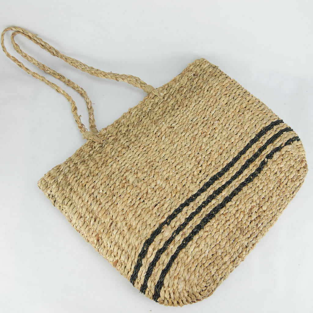 Water hyacinth handcrafted fashion market basket bag