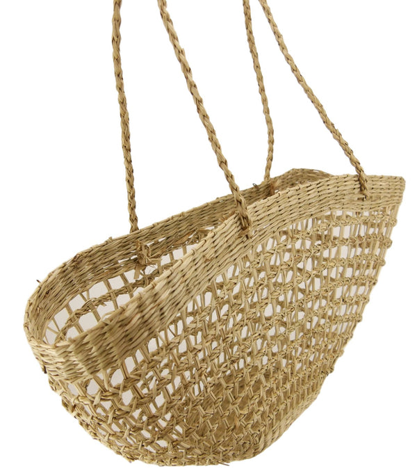 Net Half Moon Shopping Bag Medium Size in NATURAL