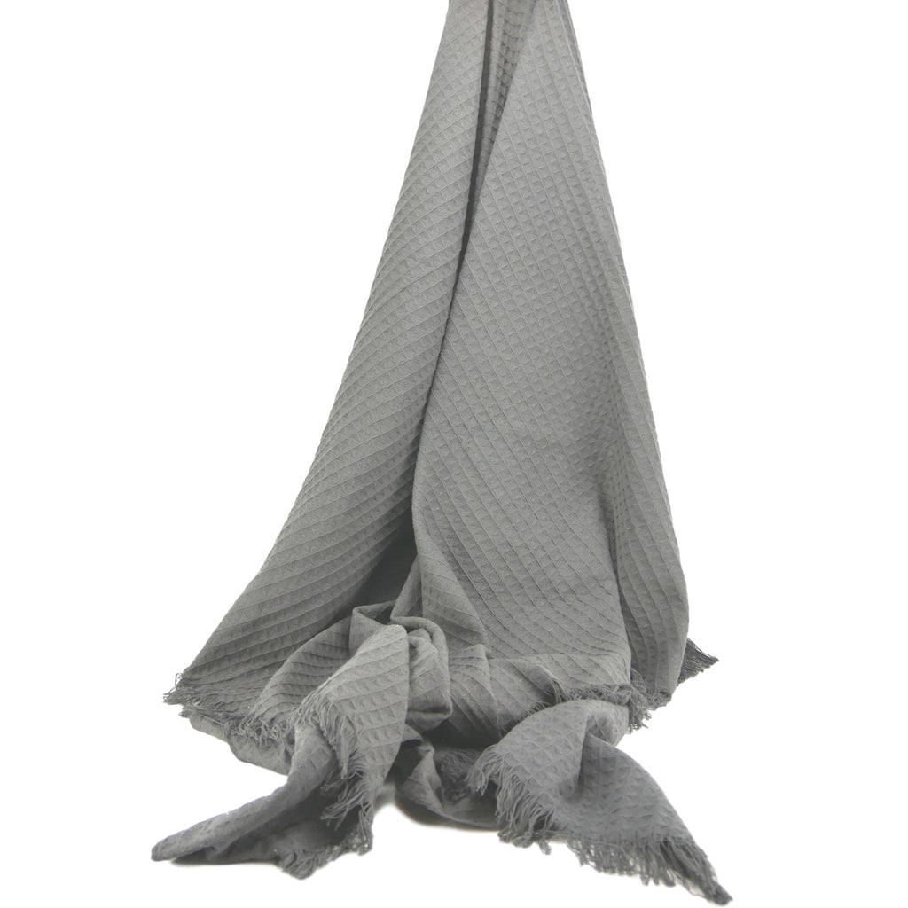 Cotton Waffle Throw in Grey/Taupe