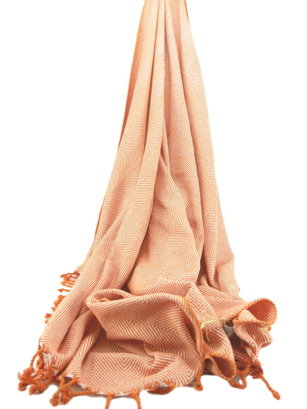 Herringbone Cotton Throw Orange/Natural
