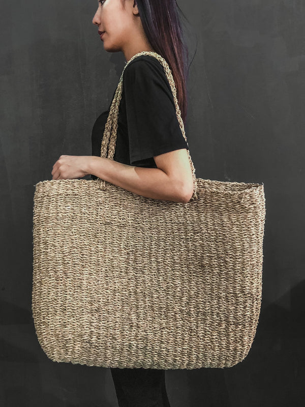 Seagrass handcrafted fashion market basket bag