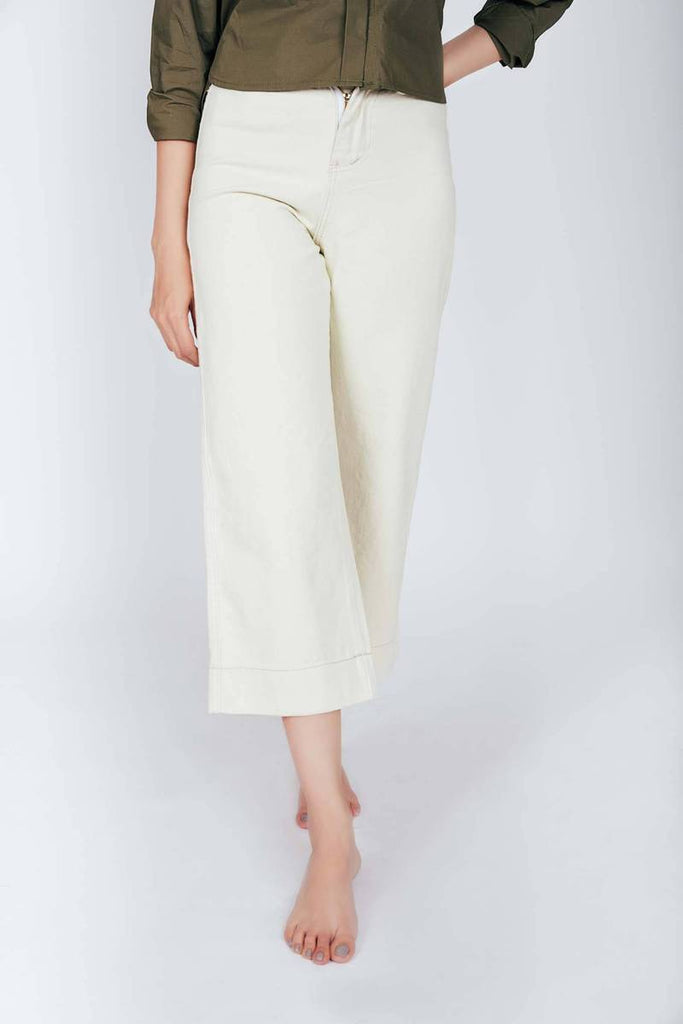 White Denim Culottes