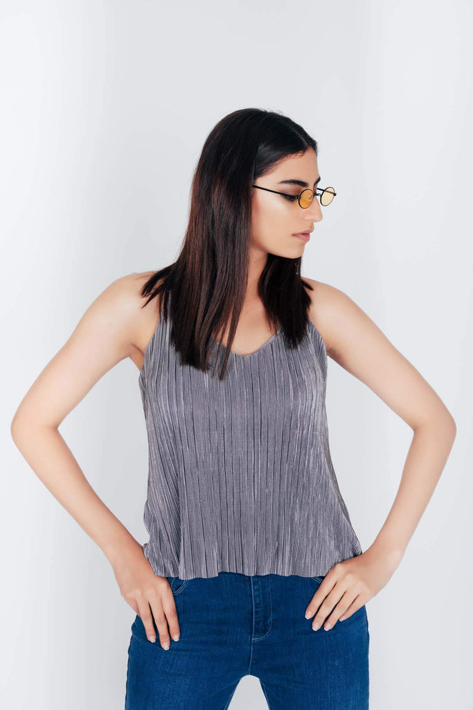 Discoball Ribbed Top Grey