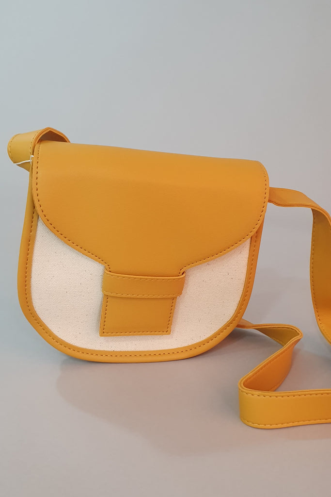Two Tone Leather Trim Cross Body Mustard