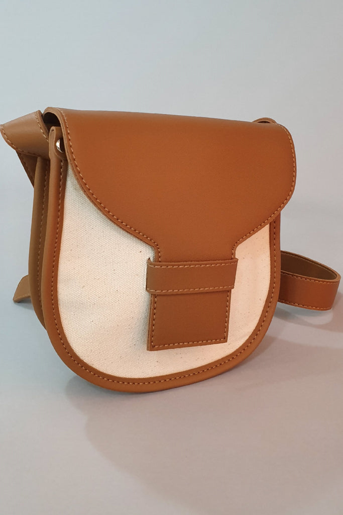Two Tone Leather Trim Cross Body  Dk. Brown