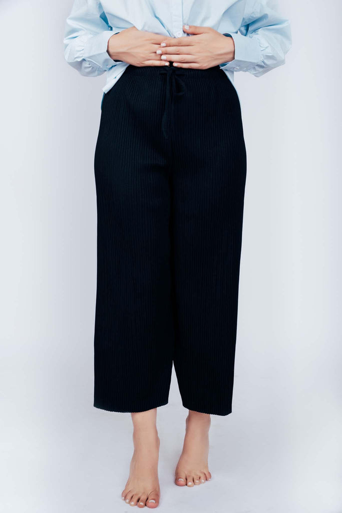 Ribbed Culottes  Black