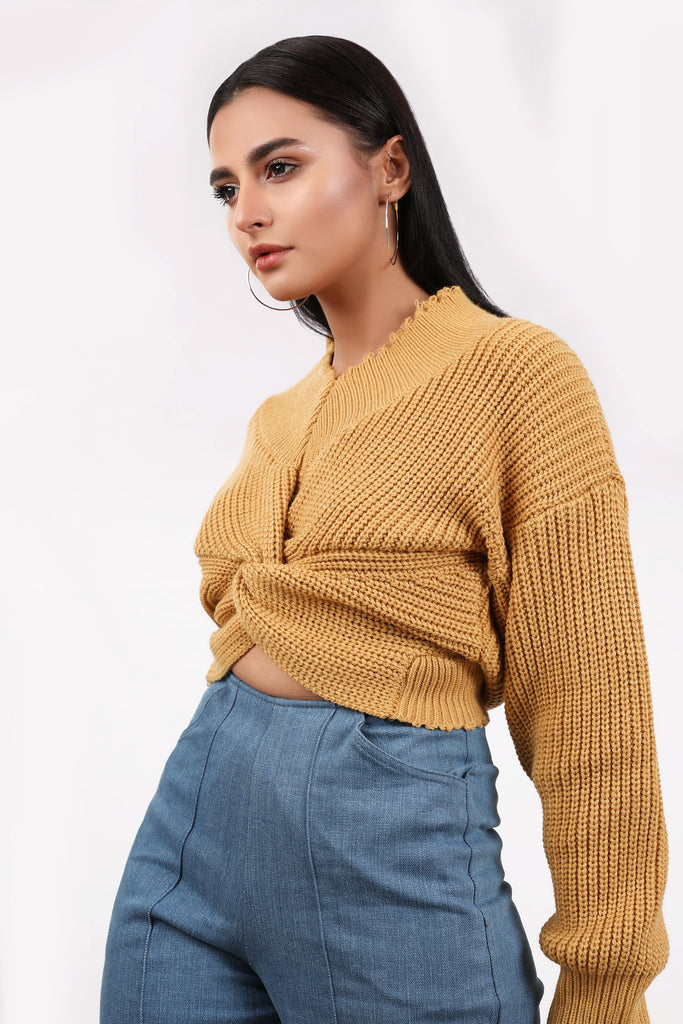 Fruit Loop Crop Knit (Mustard)