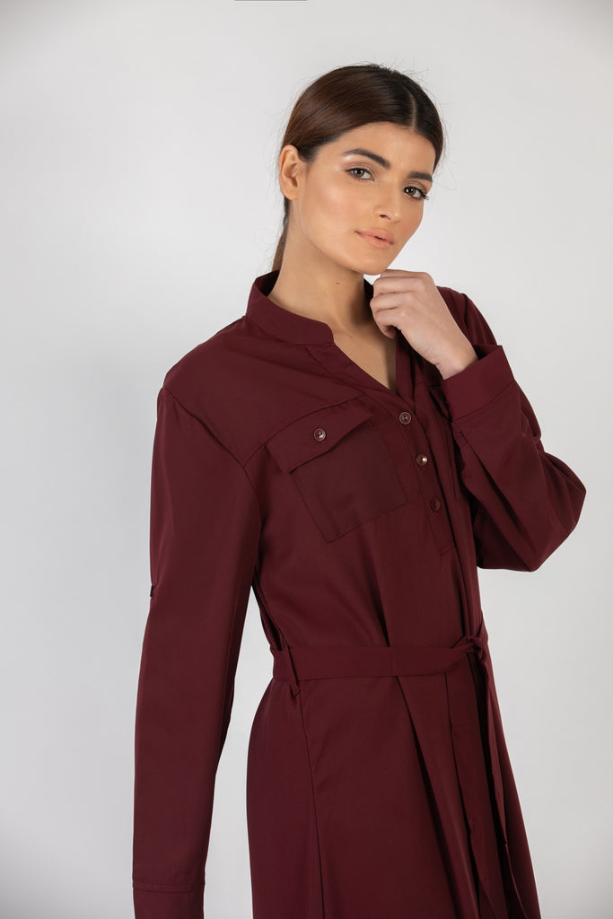 Sandra Long Dress Maroon