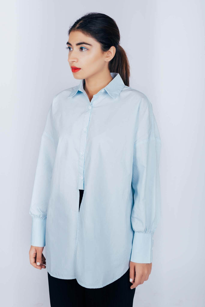 Julia Front open Button Down Blue
