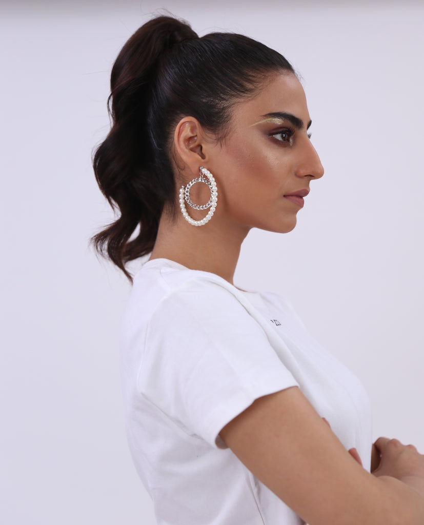 Large Hoop Pearl Earrings
