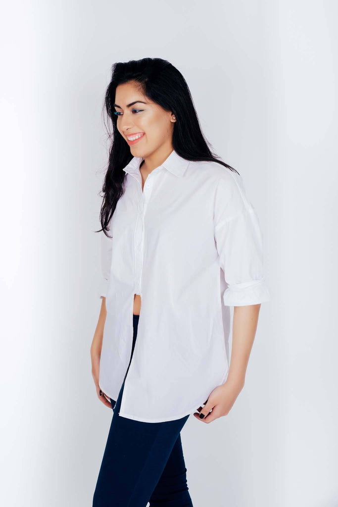 Julia Front open Button Down (Wht,Blu)
