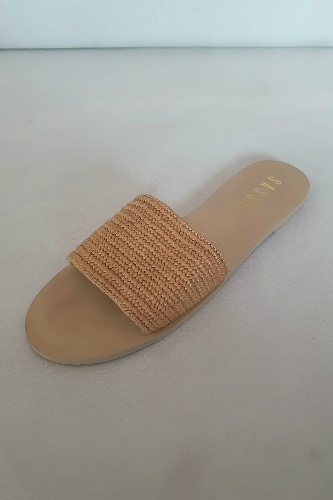 Ana Textured Slides Brown