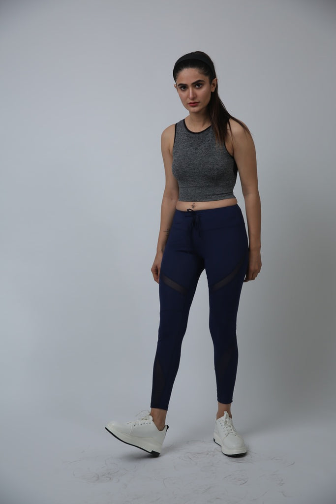 Sassy Angel Cutout Mesh Pants Blue