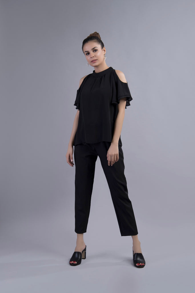 Clarissa Cold Shoulder Blouse Black