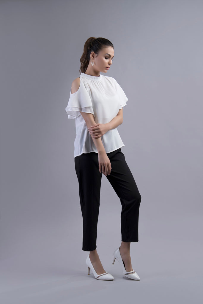 Clarissa Cold Shoulder Blouse White