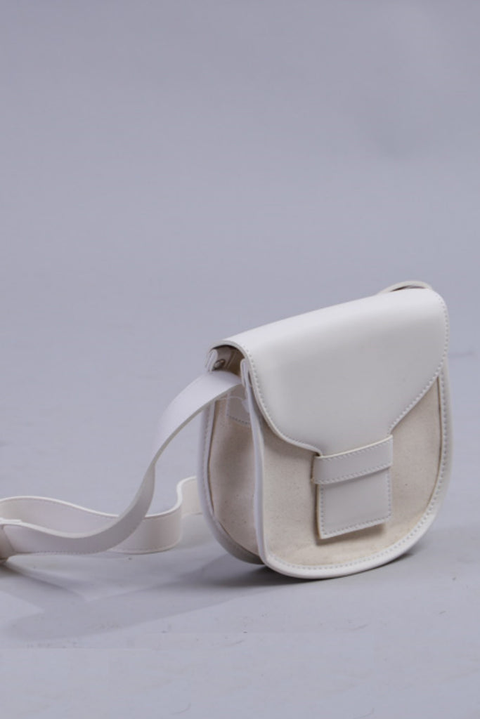 Leather Trim Cross Body White