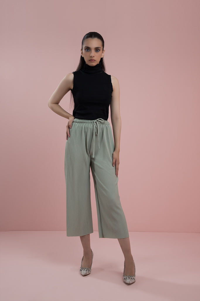 Ribbed Culottes Green