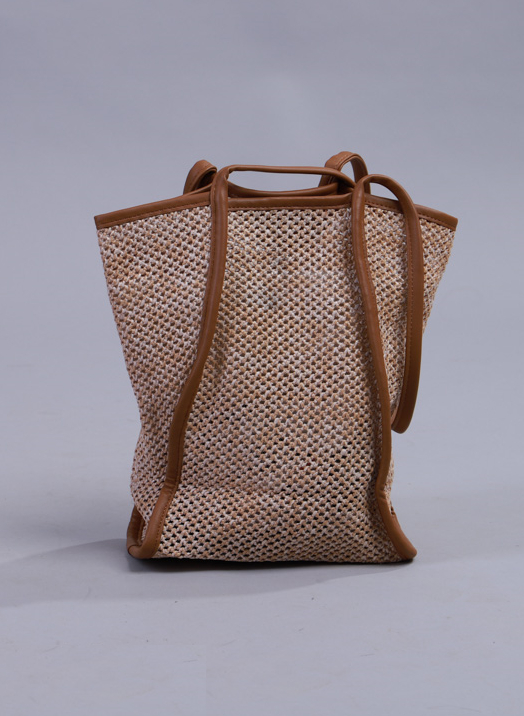 Lyela Leather Trim Mesh Bag