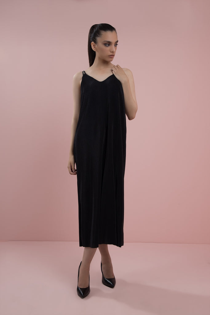 Ribbed Satin Dress Black
