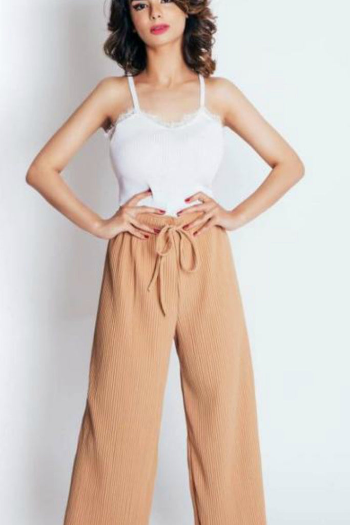 Ribbed Culottes Nude