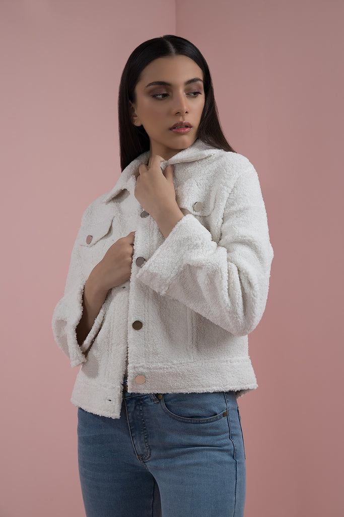 Terry Shearling Jacket White