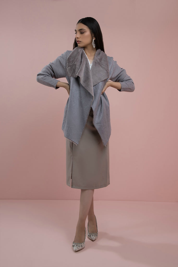 Lady Luxe Waterfall Jacket Grey
