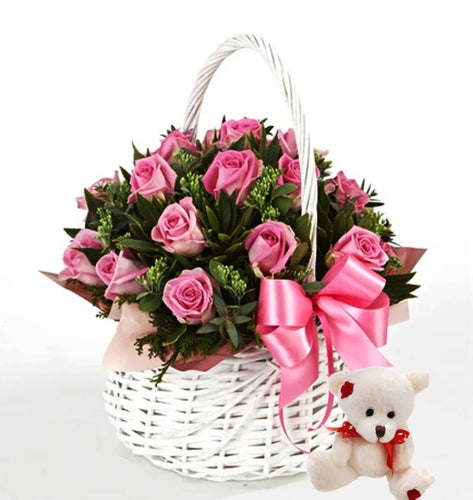 (AV21) Pink Roses in a Basket