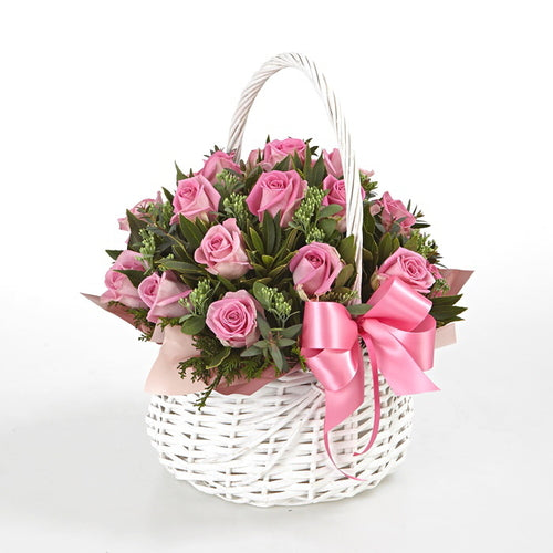 (V9) Pink Roses in a Basket