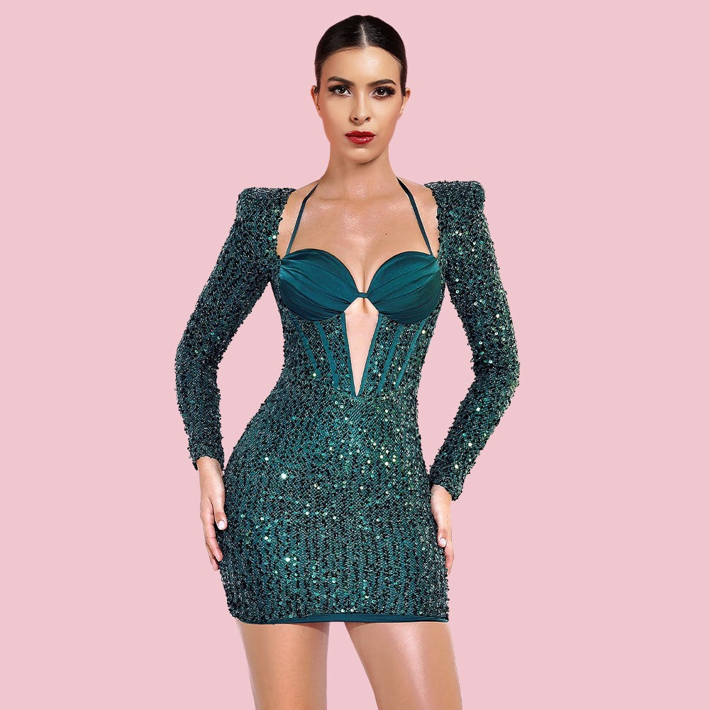 ABA Black Beads Striped Mini Sleeveless Strapless Bodycon Set